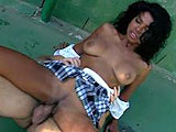 Sirena Lewis is an exotic black twenty one year old coed from the University of Honduras.  She gets interviewed and we learn about some of her sexual likes and dislikes.  Next, she gets balled by a white guy on an outdoor basketball court, and she makes him cum.