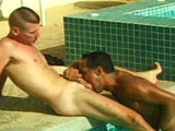 A big strong blonde male is getting his big hard cock sucked by a hot Latin stud.  After having his cock thoroughly mouth fucked, he turns over so the dude can vigorously tongue fuck his ass.  Once all that fun is over, the guys have a hot time fucking the shit out of each other.