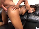 A black hottie, Angela Devine, is taking a hard fucking to her dripping wet pussy.  Before getting railed in many different positions, she gives the guy's rock hard cock some real sloppy mouth service.