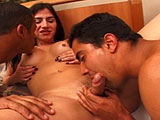 A sexy brunette shemale is getting plowed by two big dick Latin guys.  She gives an amazing BJ while being fucked in the ass.  Once both guys are done playing on her like a jungle gym, they drop two big loads in her mouth.