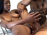 A tall, slender English whore has been naughty.  These two black sluts are here to teach her a lesson.  They spank her ass cheeks raw with utensils from the kitchen.  Next, these sluts jump into a lesbian licking frenzy.  Each black ho takes turns licking the brunette before they each spread their b