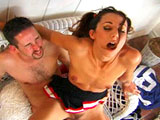 Kaylynn, a cute brunette cheerleader, does the waterboy.  She leaves her cheerleading skirt on while he fucks her ass!