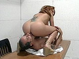 Kate Frost, a sexy brunette, is getting her pussy fucked by a rock hard cock. She pulls this guys big cock out and hogs down on it. After sucking his big dick, she gets her panties ripped off and a hard dick stuffed in her pussy.