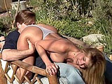 Tara, a hot blonde with a nice rack, is dripping wet for this guy's big cock. After lubing up his big johnson, she gets thoroughly fucked by his spit covered dick.