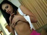 Hot Latina teen, Ice La Fox, gives you a nice slow strip tease to show off her firm assets before lying on a bed, spreading her legs and having her twat eaten by a muscle-man. His enormous python pounds on the very back of her cunt in several positions before he pulls out and pokes her tonsils.