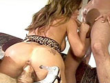 Envy, a sexy brunette, is taking hard fucking to her ass and pussy from two big dicks. She mouth fucks both guys before getting nailed in her ass and snatch. At one point, she has both of her holes pumped simultaneously.