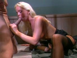 Hottie, Sylvia Saint, is taking a big cock up her ass. She swallows down the guy's big cock before getting her ass hole jack hammered.