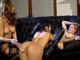 Three brunettes in their sexy leather outfits are having a hot dildo party. These girls have a great time fucking each other's pussy with their crazy high-tech dildos.