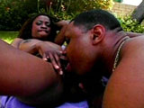 Monique, a sexy little black girl, is wet and ready to ride some cock. Her little black tits look so good bouncing around as she gets plowed by a big black dick.
