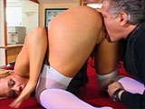 Sexy Olivia Saint is getting her pussy savagely tongue fucked by some old guy.  He licks her cunt in a number of positions before she finishes herself off with her own two fingers.
