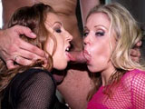Two hot hookers, Jamie Brooks and Red Heaven, are paid to be this lucky guy's birthday present.  Stack them up and let the screwing begin!  Go shorty, it's your birthday.