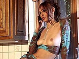 Tiffany Mason, a sexy little brunette, is pleasuring herself with her cell phone.   She is soon joined by Billy Glide whose big dick she starts mouth fucking.  Next, she gets fucked in a couple different positions before taking a nice open mouth facial.