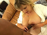 This big blonde is getting fucked by a big beefy black cock. She is big and that makes for more cushion for the pushing.