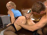 Hot blonde, Hannah Harper, has found herself a bad boy that can satisfy her sexual needs.  He starts out by throwing her on a table and eating her ass.  Next, he fucks her cunt before flipping her upside down and pounding the hell out of her ass hole.