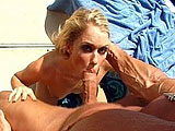 Hot blonde, Jamie Brooks, is slobbering all over this guys erect cock. After blowing the guy, she takes a ride on his cock.  She gets her face rinsed off with some warm man batter.