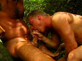 Two hot guys are slobbering all over each other's big hard packages.  After blowing each other, the two have a hot and sweaty time drilling one another's butt hole.