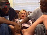 Donna, a hot blonde, finds it a little hard to talk with two big black dicks stuffed in her mouth. After hogging down some big black bococky, she gets fucked by the guys individually before getting DPed.