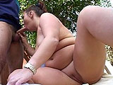 Malorie, a larger than average cheerleader, is indulging in some hot extracurricular activity with a male cheerleader.  She starts by pulling his big cock out of his pants and slobbering all over it before having it fucked into her pussy in a number of positions.