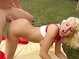 Candy Cotton, a sexy blonde with a nice rack, is dripping wet for this guy's big cock to fuck her ass and pussy. After sucking on the guy's big johnson, she gets thoroughly fucked in both of her holes by his spit covered dick.