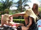 Three hot ass blondes are practicing up for a new porn movie.  These three girls waste no time stripping each other's clothes off and breaking out their sex toys.  By way these three girls fucking each other, I don't think they need any practice.