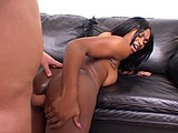 Jada Kiss, a black hottie, is lubing up this guy's big cock with a very sloppy knobjob. After sucking some cock, she spreads her legs and takes a hard fucking to her box. Once the dude is done fucking her in the pussy, he pumps away at her backdoor before juicing all over her face.