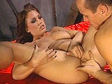 Melanie Jagger, a hot brunette, is back in the 17th century and trying to serve her lord to the best of her ability.  So to make him happy, she services his member with her mouth.  To ensure he is totally satisfied, she drops and spreads her legs so he can pound away at her.  Judging by the big load