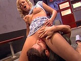 Hanna Harper, a big titty blonde, is forcing herself upon innocent unsuspecting men.  She forces her victims to fuck her hot pussy until they cum all over her cute face. 