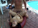 This cute brunette gets her pussy pounded at the pool side.  She takes a big hot and sticky facial for the ending.