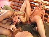 Olivia and Candy, two blonde hotties, are having their pussy fucked by a big old white cock. The two girls sandwich his cock in between their mouths. They then take turns getting fucked and riding the old dudes face.