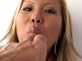 Jazzmine, a big tittie Asian, loves the taste of a nice sweaty brown eye.  She makes cock riding look so good with her big boob bouncing around.