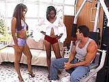 Sky and Misty, two sexy black girls, are having their cunts fucked by a well hung white guy. The girls' mouth fuck his fat cock. They then take turns getting their pussy fucked before getting showered in the dude's warm sticky love lotion.