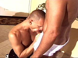 This guy doesn't have an enough cash to tip the delivery boy, but he does have the tip of his big dick to stick in his mouth.  After satisfying the delivery boy's mouth with his cock, he turns his attention to his anal cavity.