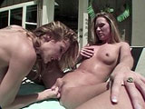 Samantha and Alexis, two sexy blondes, are having some real hot lesbian sex. Alexis licks on Samantha's pussy to get her nice and wet so she can take big dildo.