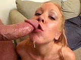 Fiona Cheeks, a hot blonde, is giving us hot dick riding show.  She receives a warm rifle shot of cum right down her mouth.