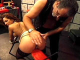 A sexy brunette is spending a day in the dungeon with her new master.  She may look so cute and innocent, but she's really a freak that loves every ounce of the punishment she gets.