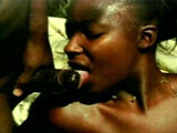 A sexy black girl is getting her nice black pussy fucked by a big dick. She hogs on the dude's cock until it's dripping in her spit before getting her pussy satisfied.