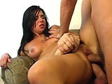Patricia, a sexy brunette, loves the feel of two big cocks in her. Plus she gets a big warm cumshot you need to see.