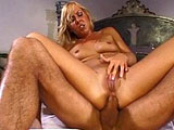 Julie Night, a very cute blonde, is gagging herself with a big hard cock.  Once done mouth fucking this dude's cock, she takes a long and thorough anal pounding from it.