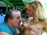 This older blonde with a nice rack gives this guy a lesson in fucking. For a woman of her age, she's still on top of her cock game.