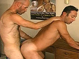 Two guys are going to town on each other's big erect cocks with their mouths.  Then, the guys take turns packing one another's fudge before stroking off on each other's rock hard abs.