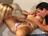 Olivia Saint, a hot blonde, is giving her hot pussy a quick shave.  After her shave, she is joined by another hot busty blonde and a guy.  The girls pass the guy's cock back and forth like a lollipop.  Next, the ladies take turns sitting on the guy's face and riding before the guy shoots his nut