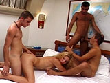 Scene starts out with two guys sucking each other off in a bedroom.  They're soon joined by another guy and a girl.  The four of them have a big bisexual orgy. At the end, all three guys unload their mangoo all over the girl.