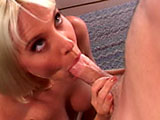 Sandy Knight, a hot blonde, is getting the pipe laid to her as her husband sits back and watches.  This blonde sucks on dude's big cock and takes it in her cunt all the while smiling at her hubby.