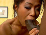 A hot Asian girl is getting her tight ass pounded by a big black cock.  She chokes on the massive black cock for a minute before inserting it into her tight brown eye.  
