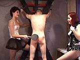 This college boy finds himself in the hands of two mistresses.  By the end of this cilp, he finds out there will be no mercy on his poor slave ass.