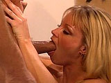Hot blonde Nina Ferrari is getting fucked nice and hard by a rock hard cock.   She gives the guy's member a great mouth fucking before having her cunt fucked in multiple positions.