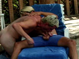 Two hot blonde males are doing a little bit more than talking by the poolside.  They start with some wet and sloppy mouth fucking before taking turns packing one another's fudge.  