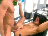 Bella Donna, a brunette with natural tits, gets fucked out by the pool.  She finishes with a titty fucking, and she catches an open mouth facial.