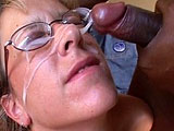 Lizzy, a cute blonde, is taking a rough ass fucking from a big black cock. She gets the guys big dong stuffed up her ass. When he's done, he unloads all over her face.