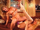 Hot blondes, Candy and Amber, are doing work on one another's pussy with a dildo. The girls start the fun up with a smoking hot make out session and some nice fingering.